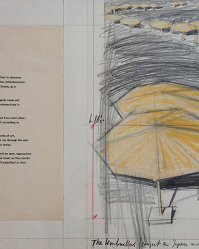 CHRISTO - Drawing-Watercolor - The Umbrellas