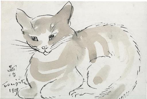 Tsuguharu FOUJITA - Drawing-Watercolor - Chat