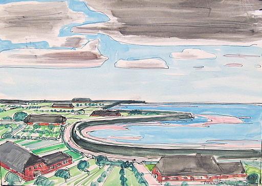 Paul MECHLEN - Drawing-Watercolor - Nordfriesische Küstenlandschaft.