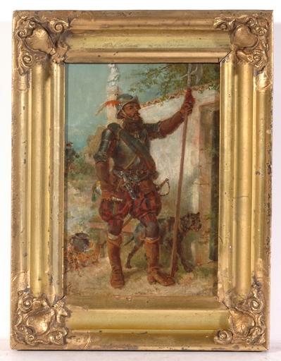 """Friedrich KAISER - Painting - """"Landsknecht (Mercenary)"""" oil on panel, 2 H. of the 19th C"""