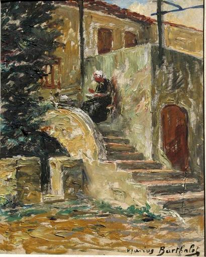 Marius BARTHALOT - Peinture - LA COUTURE DANS L'ESCALIER