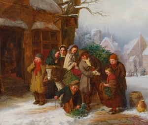 Edward Charles BARNES - Painting - The Holly Cart