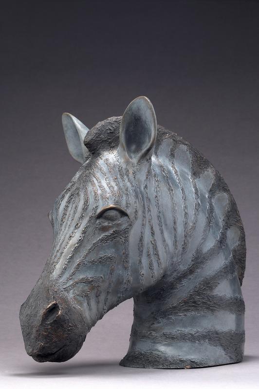 Brigitte TEMAN - Sculpture-Volume - Tête de Zèbre