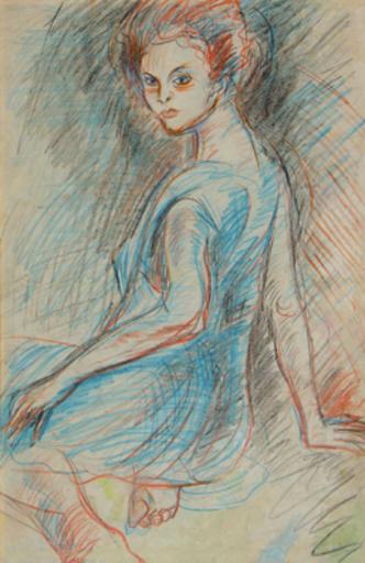 Carlos ENRIQUEZ GOMEZ - Peinture - Retrato de Mujer (Portrait of Woman)