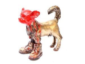 William SWEETLOVE - Sculpture-Volume - Cloned bronze Chihuahua with red head