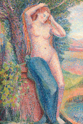 Hippolyte PETITJEAN - Painting - Baigneuse se coiffant