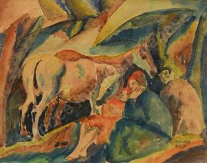Béla KADAR - Drawing-Watercolor - Three Figures and a Donkey
