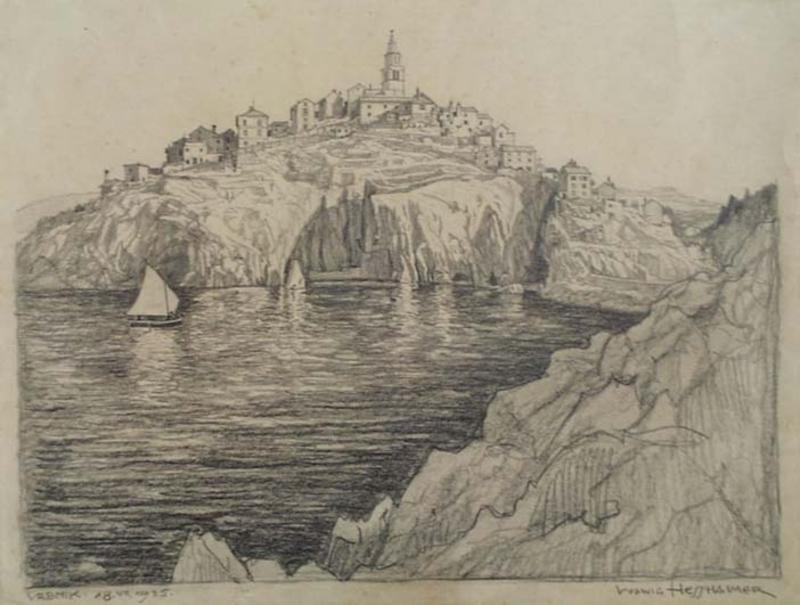 "Ludwig HESSHAIMER - Zeichnung Aquarell - ""View of Vrbnik in Croatia"" by Ludwig Hesshaimer"