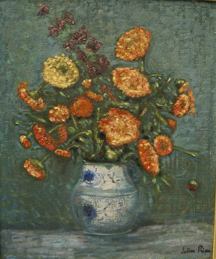 André Julien PRINA - Pintura - Bouquet de soucis dans un vase.