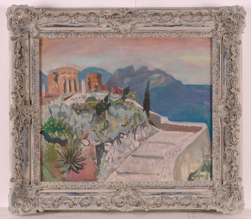 """Frederick SERGER - Painting - """"Motif of South France"""", ca 1950, Oil"""