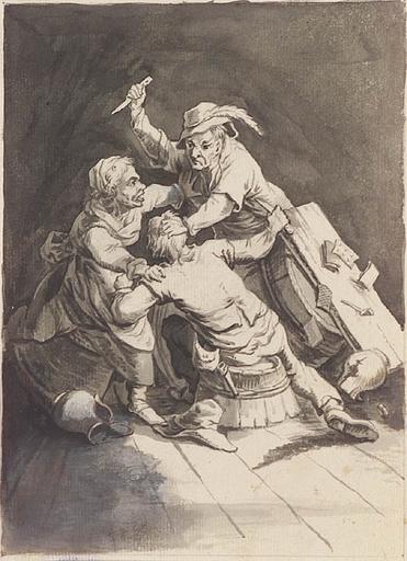 Johann Michael FREY - Dibujo Acuarela - Scuffle in Tavern, 18th/19th Century