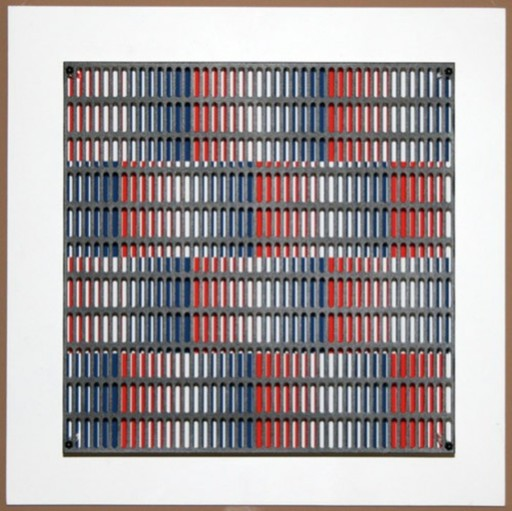 Antonio ASIS - Print-Multiple - vibration bandes bleus et rouges