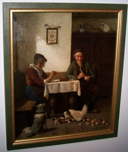 Hermann PLATHNER - Painting - old farmers at table