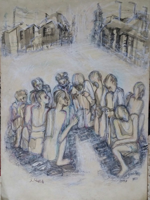 Shimon BALISKY - Painting - Holocaust ,Concentration Camp, 1945