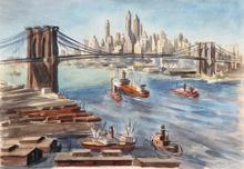 Reginald H. MARSH - Drawing-Watercolor - Brooklyn Bridge and Lower Manhattan 1