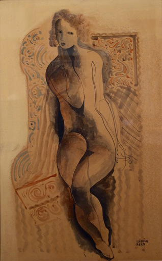 Béla KADAR - Drawing-Watercolor - Seated Nude with Brown Background