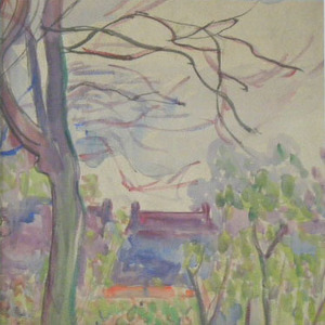 Jean PESKÉ - Zeichnung Aquarell - Landscape with House and Tree