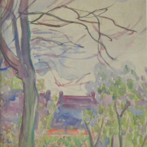 Jean PESKÉ - Drawing-Watercolor - Landscape with House and Tree