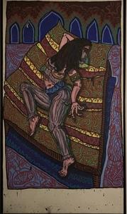 Robert COMBAS - Painting -  genvieve en princesse du sudarabo, indien de mere ique la m