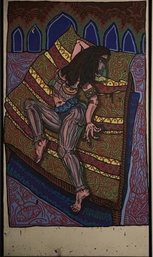 Robert COMBAS - Pittura -  genvieve en princesse du sudarabo, indien de mere ique la m