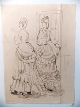 Jean SOUVERBIE - Dibujo Acuarela - FEMMES EN ROBES DE MOUSSELINE
