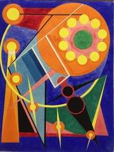 Auguste HERBIN - Dessin-Aquarelle - Le soleil et les planètes