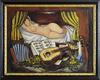 Ismaël DE LA SERNA - Painting - Jeune Fille à l'Accordéon