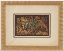 "Alfred WAAGNER - Dibujo Acuarela - ""Orgie (Orgy)"", watercolor, 1910s"