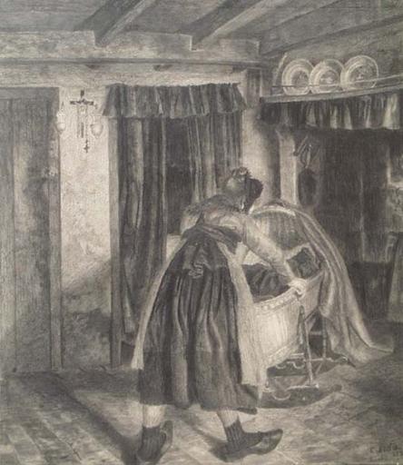 """Karl MEDIZ - 绘画 - """"Belgian Peasant Scene"""" by Karl Mediz, 1889"""