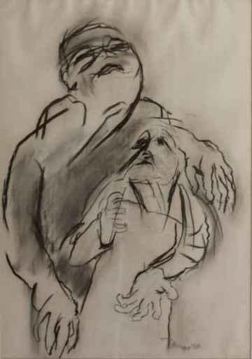 Eugène DODEIGNE - Disegno Acquarello - Twee Figuren