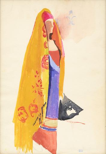 Joseph STELLA - Dessin-Aquarelle - Woman with Orange Shawl