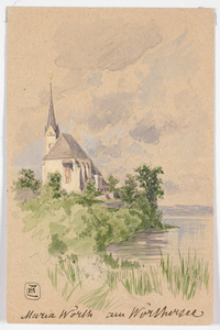 """Ludwig Hans FISCHER - Dibujo Acuarela - """"Maria Woerth Church on lake Woerthersee"""", late 19th Century"""