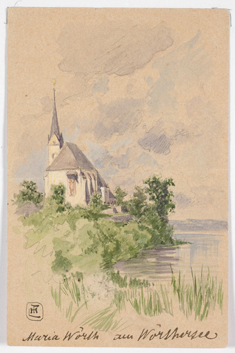 "Ludwig Hans FISCHER - Dibujo Acuarela - ""Maria Woerth Church on lake Woerthersee"", late 19th Century"