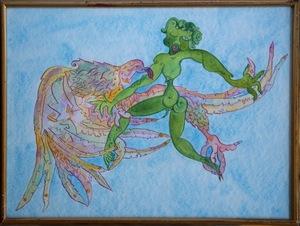 Luigi ONTANI - Disegno Acquarello - Gioviale volare con (vedere) in fede