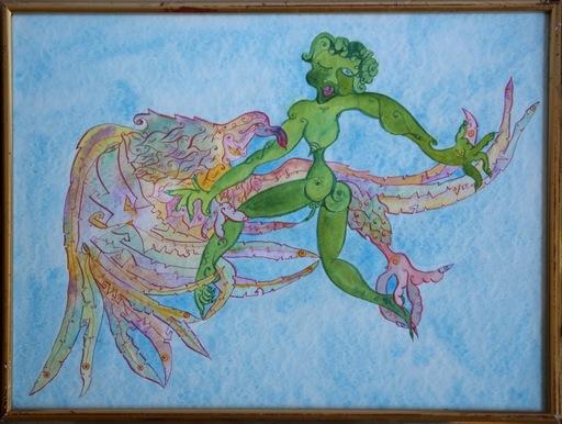 Luigi ONTANI - Drawing-Watercolor - Gioviale volare con (vedere) in fede