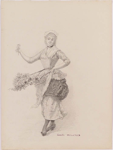 "Camille BELLANGER - Dibujo Acuarela - ""Flower Girl"", late 19th Century"