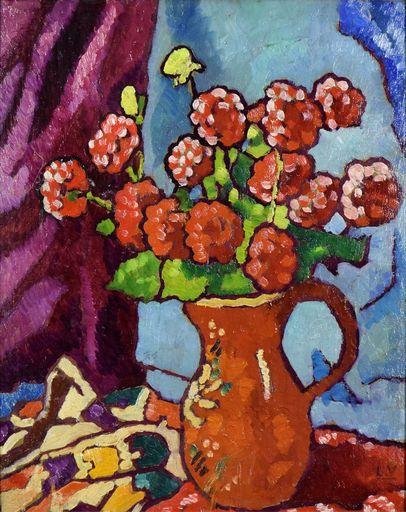 Louis VALTAT - Peinture - Fleurs Rouges à la Cruche Brune