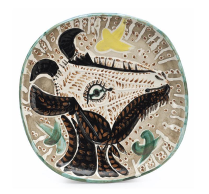 Pablo PICASSO - Ceramic - Tête de chèvre de profil 1952