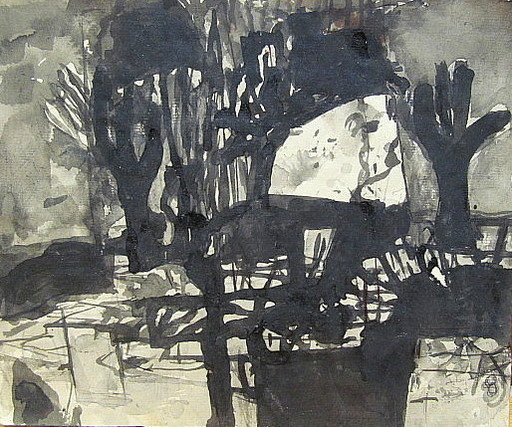 Arnold FIEDLER - Disegno Acquarello - Bewegte Frühlingsnacht