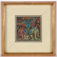 """Alfred WAAGNER - Disegno Acquarello - """"Mystical composition"""", watercolor, 1910s"""