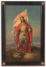 "Friedrich Ritter VON AMERLING - Pintura - ""Zsigmond Thaly as a crusader (?)"", oil on cardboard, ca. 18"