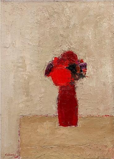 Bernard CATHELIN - Peinture - Bouquet rouge au vase rouge