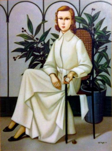 Philippe Henri NOYER - Pittura - Lady in White Robe
