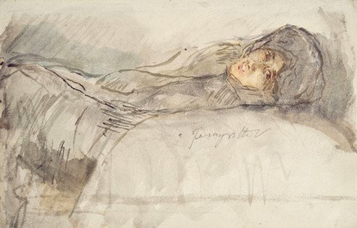 Adolfo A. Ferraguti VISCONTI - Dibujo Acuarela - YOUNG WOMAN LYING