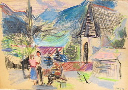 Erich HARTMANN - Dibujo Acuarela - #19955: St. Lorenzen in den Alpen.