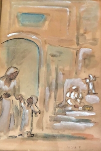 David HENDLER - Drawing-Watercolor - Street in Jerusalem