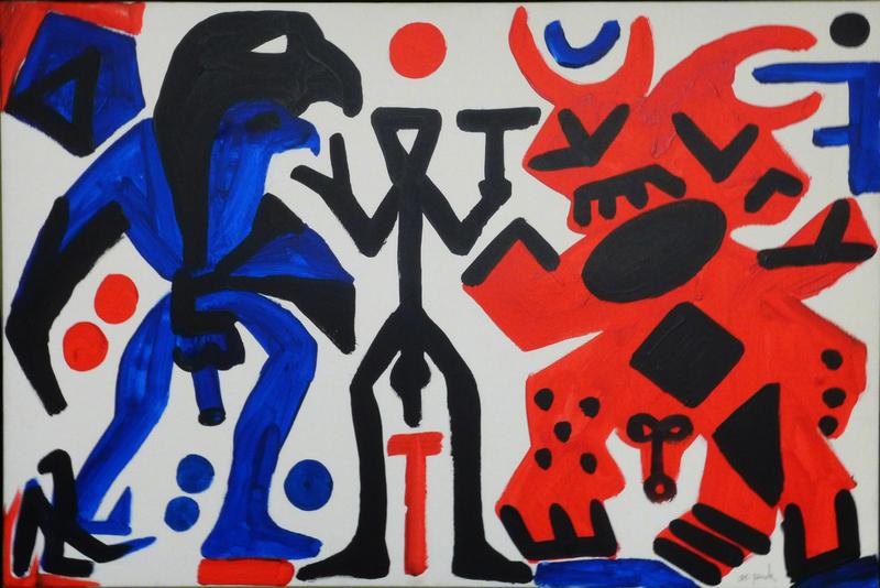 A.R. PENCK - Painting - Schwarz-blauer Doppeladler