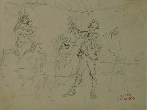Jan David COL - Dibujo Acuarela - Three Sketches by David Col, 19th Century