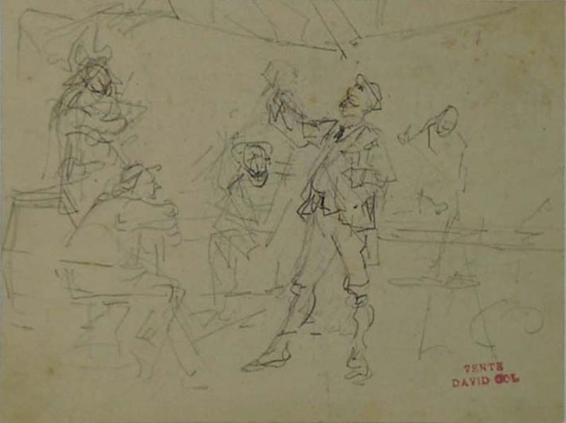 Jan David COL - Dibujo Acuarela - Three Sketches by David Col, 19th Century