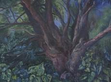 David BURLIUK - Painting - Tree Trunk